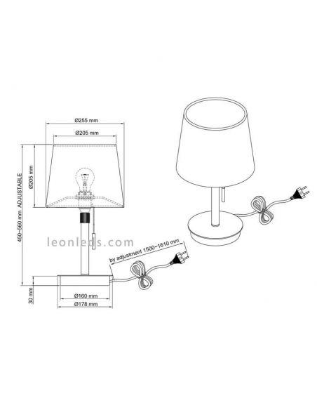 Dimensiones de Lámpara de sobremesa clásica Níquel Mate Lyon