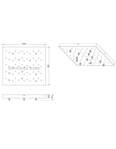 Dimensiones Plafón LED cromado Titus