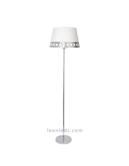 Lámpara de pie Plateada y Blanca Dalia