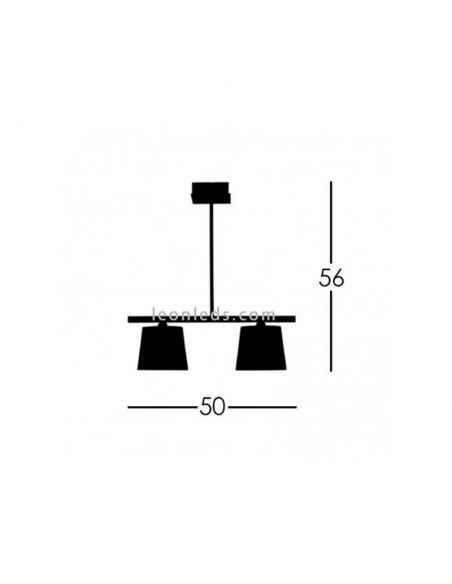 Dimensiones de Lámpara de techo 2 luces Plateada y Blanca