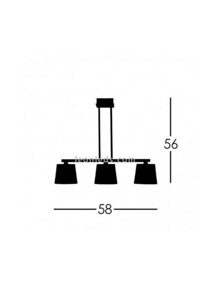 Dimensiones Lámpara de techo moderna 3 luces Dalia
