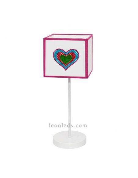 Lámpara de sobremesa serie amor-Blanco y Rosa | LeonLeds Iluminación