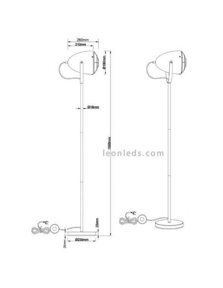 Dimensiones de Lámpara de Pie industrial Cammy