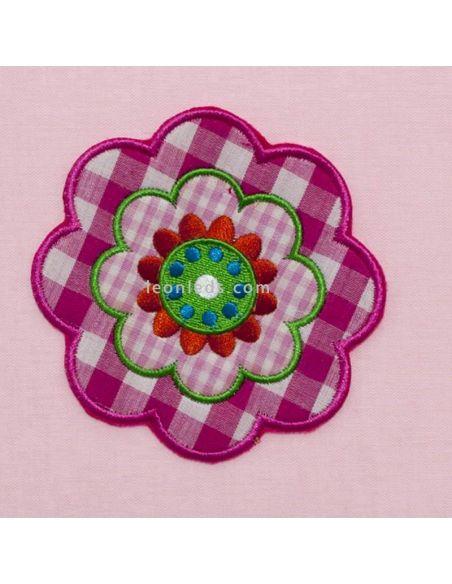 Lámpara infantil rosa con flor estampada | LeonLeds.com
