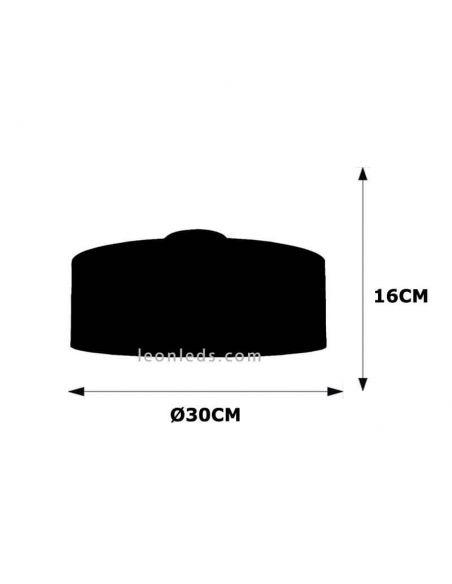 Dimensiones Plafón de techo Nicole 30Cm gris