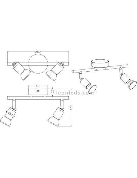 Dimensiones regleta 2 focos serie paris de Trio Lighting