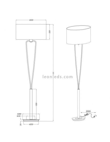 Dimensiones Lámpara de techo Bronce Paris II