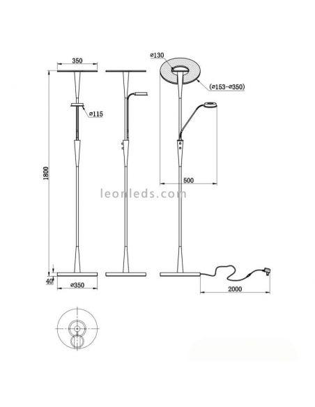dimensiones Lámpara de pie LED quebec Bronce Mate
