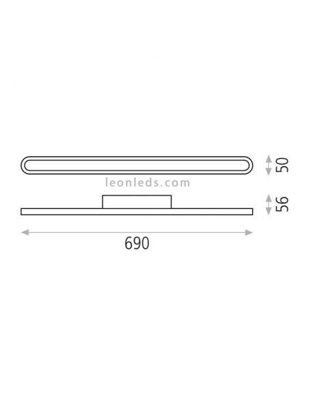 Dimensiones Aplique LED para espejo de baño Adela ACB Iluminación