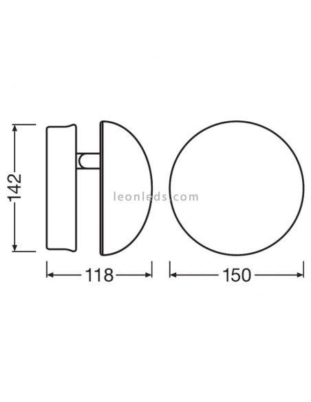 Dimensiones Aplique LED exterior blanco LedVance