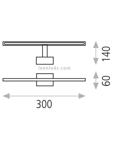 Dimensiones Aplique LED moderno Aqua ACB Iluminación