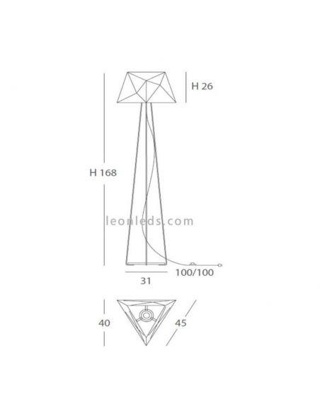 Dimensiones lámpara de pie moderna Slide Ole¡ By Fm Iluminación