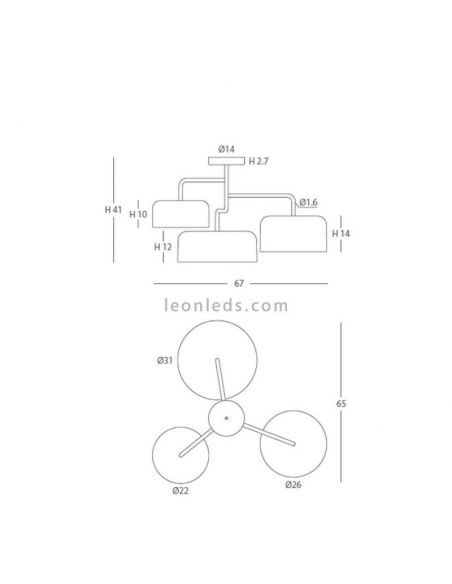 Dimensiones Lámpara de techo diseño serie Tono FM Iluminación
