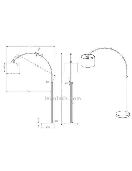 Dimensiones Lámpara de pie arco blanca serie Hotel de Trio Lighting