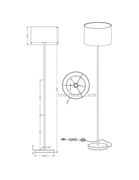 Dimensiones Lámpara de pie blanca serie hotel de trio Lighting