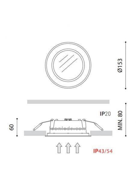 Dimensiones Drop Mini 3 Downlight LED 10W ArkosLight