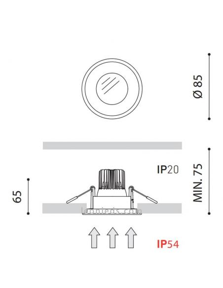 Dimensiones Downlight LED Drop Micro 2 LED