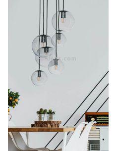 Lámpara colgante 6 pantallas de cristal Bacan FamLight