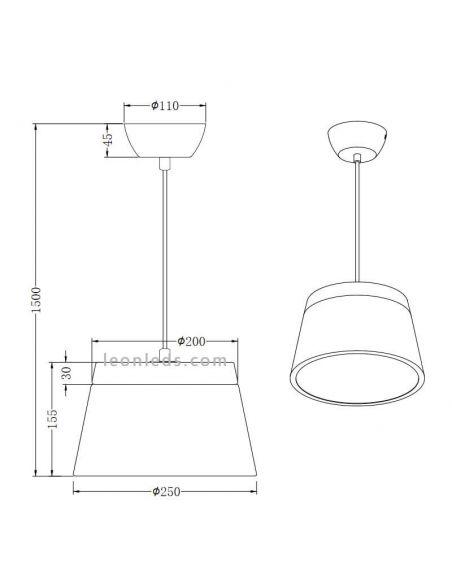 Dimensiones Lámpara de techo Barones Trio Lighting