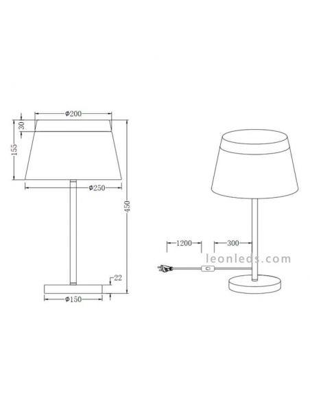 Dimensiones Lámpara de mesa blanca barones TrioLighting