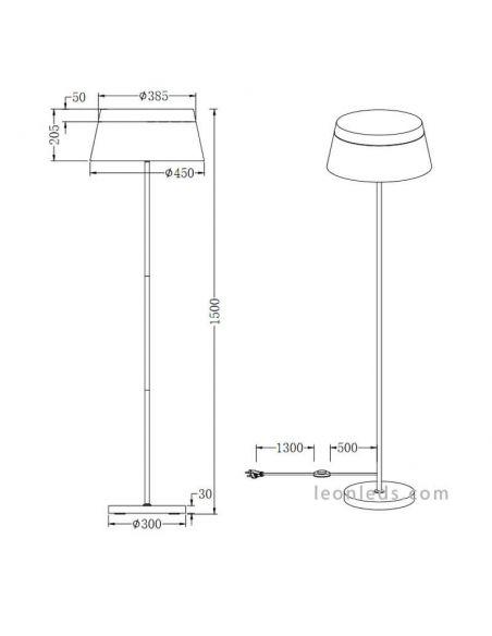 Dimensiones Lámpara de techo baroness blanca