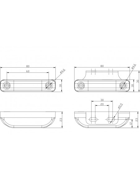 Piloto LED Lateral Y Galibo Con o sin Soporte Fristom FT013 con tulipa transparente rectangular estrecho | LeonLeds
