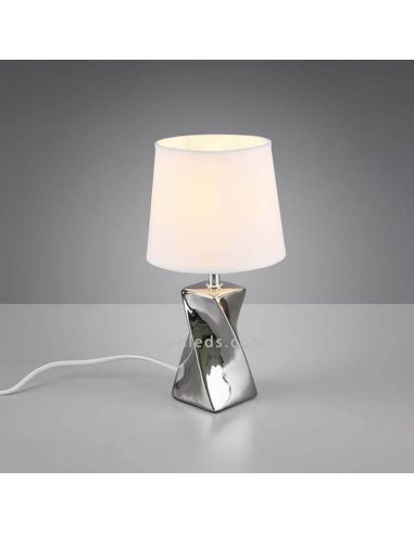 Abeba la lámpara de sobremesa plateada de Trio Lighting | LeonLedsiluminacion