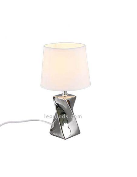 Abeba la lámpara de sobremesa plateada de Trio | LeonLeds.com
