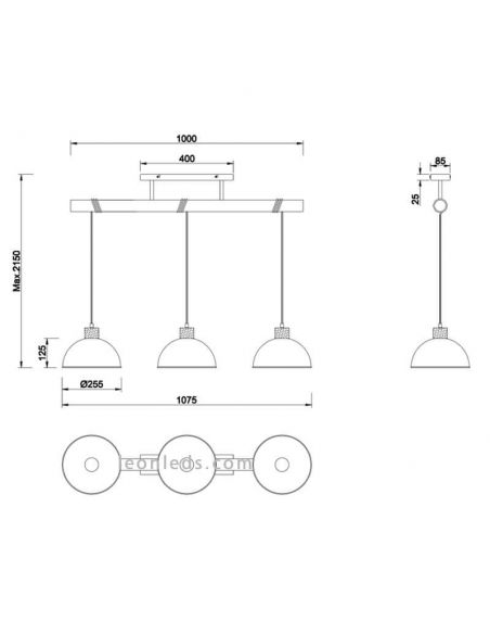 Dimensiones Lámpara de techo 3 luces industrial