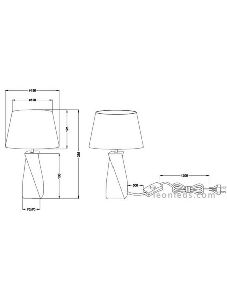 Lámpara de mesa Abeba pequeña plateada de Trio | LeonLedslamparasdesobremesa