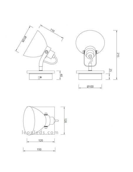 Dimensiones Foco orientable Industrial Timber Trio Lighting