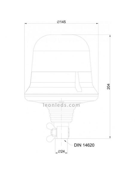 Rotativo LED Naranja Resistente a Golpes Ambar Homologado 2 destellos Alta Luminosidad | LeonLeds