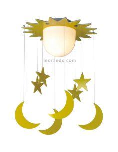 Plafón infantil Fugaz con estrellas y lunas de CristalRecord | LeonLeds.com