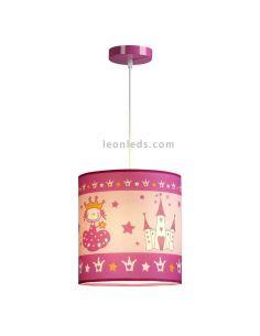 Lámpara de techo Princess rosa de castillos E27 | LeonLeds.com