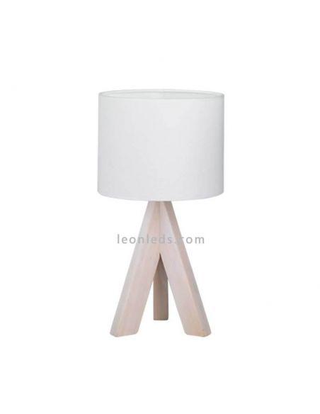 Lámpara de sobremesa blanca y madera de TrioLighting | LeonLeds.com