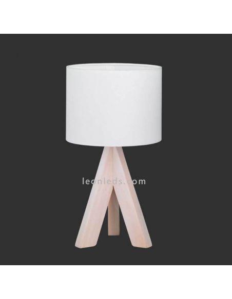 Lámpara de sobremesa blanca y madera de TrioLighting | LeonLedsiluminacion