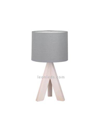 Lámpara de mesa gris y madera GING de TrioLighting | LeonLeds.com