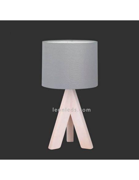 Lámpara de mesa gris y madera GING de TrioLighting | LeonLedslamparasdesobremesa