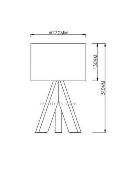 Lámpara de mesa gris y madera GING | LeonLedsiluminacion
