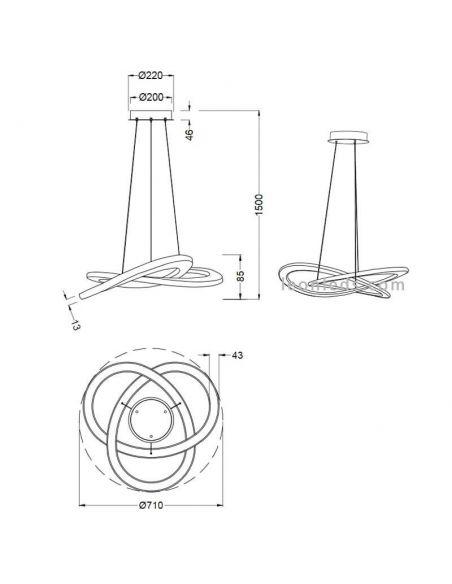 Dimensiones Lámpara de Techo LED Moderna Oakland Trio Lighting