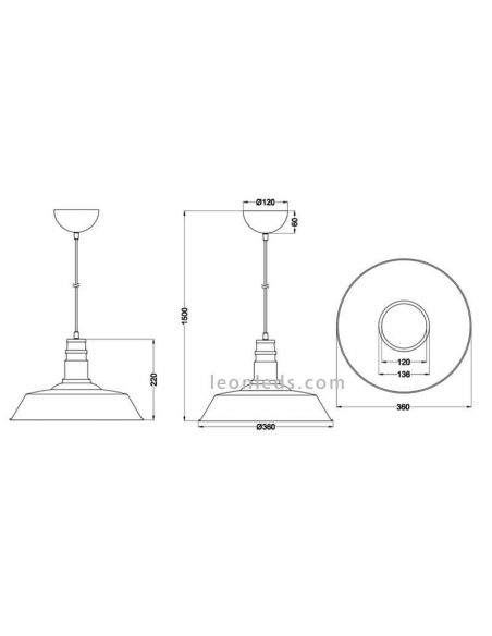 Dimensiones Lámpara de Techo industrial Blanca