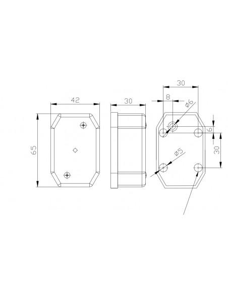Piloto Reflectante LED Lateral o Galibo con varios soportes o sin soporte Fristom FT001 FT-001 LED Rectangular | LeonLeds
