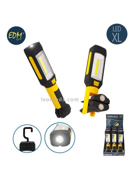 Linterna LED de pila con gancho y base magnetica | LeonLeds Iluminación