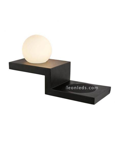 Aplique LED Zanzibar negro con carga de inducción