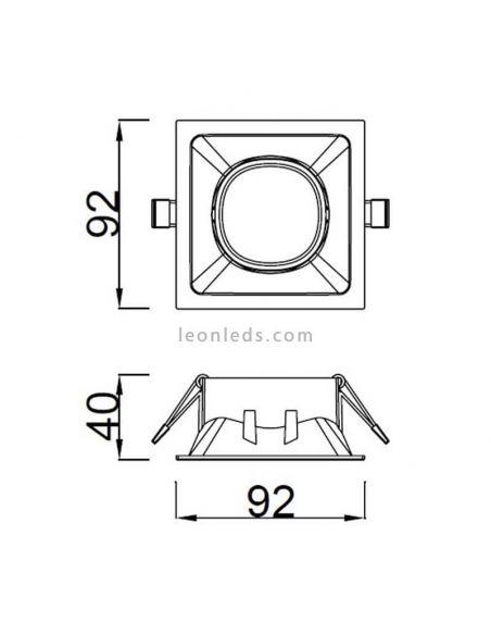 Dimensiones Foco Empotrable cuadrado GU10