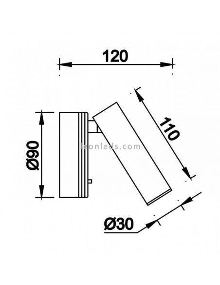 Dimensiones Aplique LED con intrruptor Prea Mantra