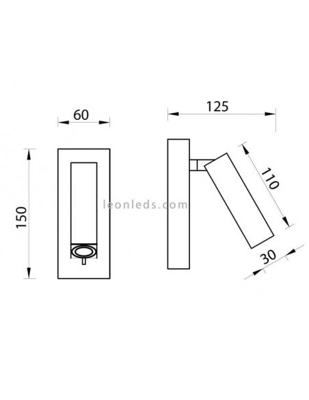 Dimensiones Aplique LED Tarifa de Mantra