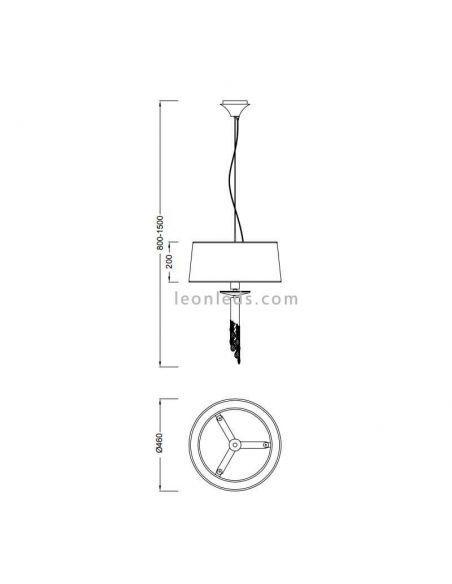 Dimensiones Lámpara de Techo clásica redonda Tiffany Mantra
