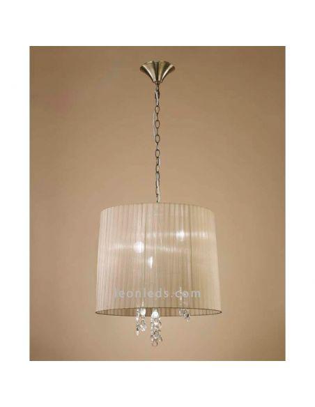 Lámpara Colgante clásica redonda Tiffany Cuero