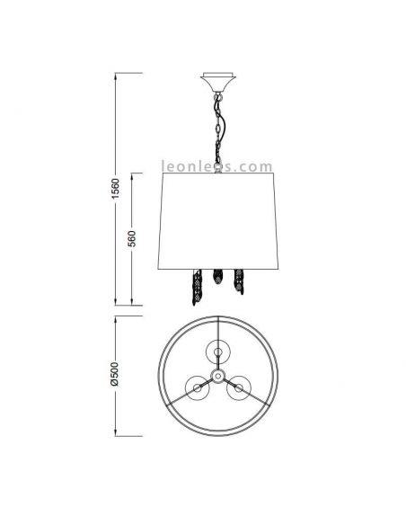Dimensiones Lámpara Colgante clásica redonda Tiffany